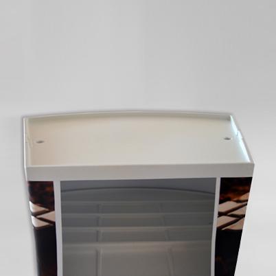 Vue de dos, comptoir d'accueil rectangulaire imprimé