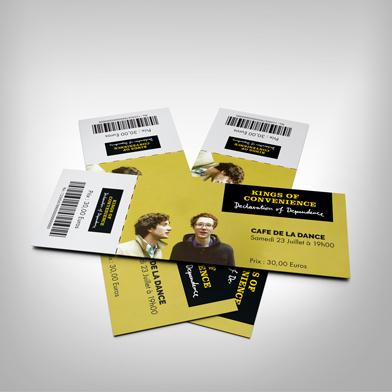 Billet concert souche + 1 billet avec code barre